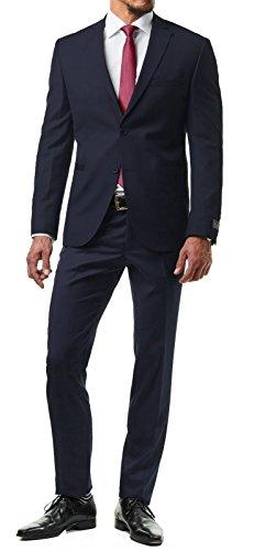 Paco Romano Herren Anzug Jacket Sakko Hose Schwarz 2-Teilig 67713 Slim Fit Premium Cotton 80{34c4a3d698b76560c2c2aa06da9eeb9920fa11a1d680d8a183dcd147a30b811b} Wolle Hochzeit Feier Business Dinner Gentleman, Farbe:Dunkelblau, Größe:58 / 3XL