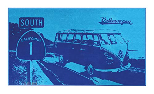 BRISA VW Collection - Volkswagen Furgoneta Hippie Bus T1 Van Gran Toalla de Algodón Suave para Baño, Playa y Sauna como Idea de Regalo/Camping/Outdoor/Souvenir (Highway 1/Azul)