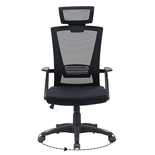 Ergonomic Mesh Office Desk Operator Chair Swivel PC Computer Office Chairs with Arms and Back Support Headrest for Home & Office Use for Adults Black