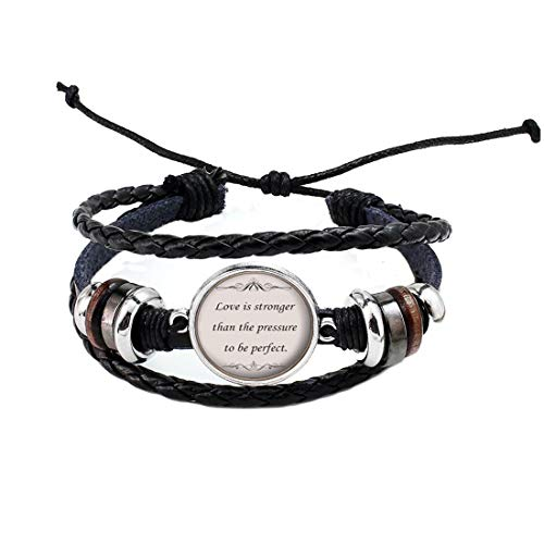 Love is Stronger Bangle Song Lyric Bracelet-Song Lyrics Quote Bangle-Inspirational Music Jewelry-Silver Motivational Jewelry Gift for Her-#274