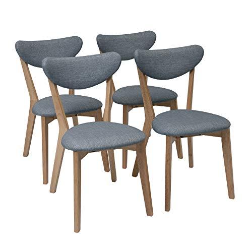 Homely - Pack de 4 sillas de Comedor de diseño nórdico MELAKA tapizadas en Tela y Patas de Madera de Roble - Azul