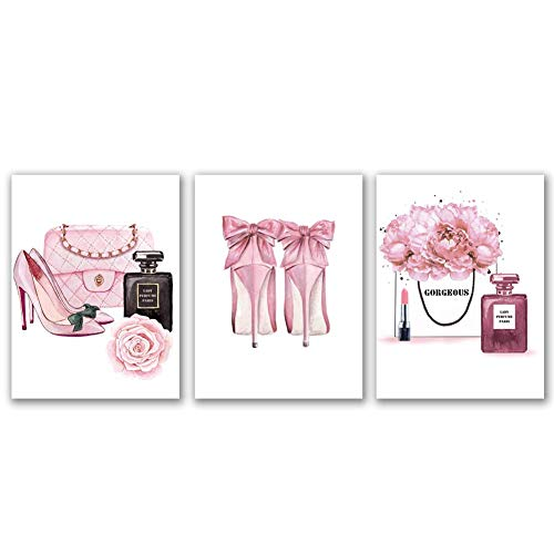 Fashion Women Art Print Pink High Heels Flowers Painting Set of 3 Pieces (11.8x15.6inch)Canvas Perfume Poster With Framed Ready to Hang for Girls Gift Bedroom Dressing room