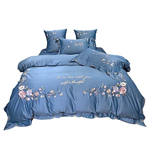 KORANGE Juego De Funda Nórdica Bordado Ropa De Cama 100% Algodón Funda De Edredón De 4 Piezas Y 2 Fundas De Almohada Y 1 Sábana Patrón Floral Flor Azul (Size : Queen)