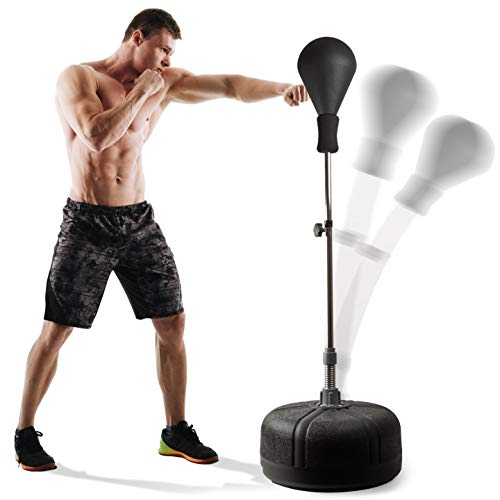 POWRX Punching Ball Boxe para Adultos y Adolescentes - Altura Regulable 110-160 cm - Ideal para Entrenamiento en casa y Gimnasio - Base Antideslizante (Negro)
