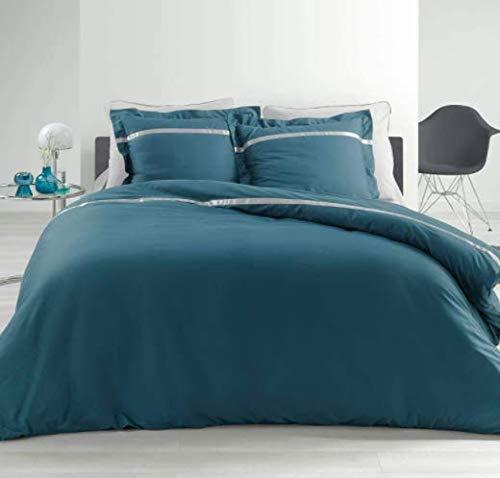 Funda de edredón de percal con franja de satén, 220 x 240 cm – 240 x 260 cm + 2 fundas de almohada con volante plano de 63 x 63 cm – Satinea (azul – gris, 220 x 240 cm)