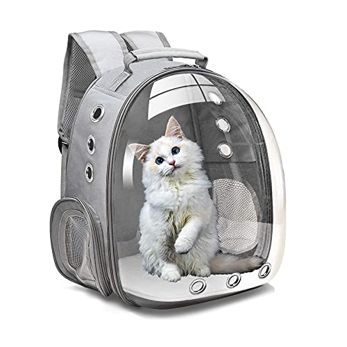 LotusPets Pet Backpack Carrier Bubble Bag, Puppies Dog Cat, Ventilated Breathable Space Capsule Pet Carrier Bag Design Airline Approved for Hiking Outdoor Use,Gray Review