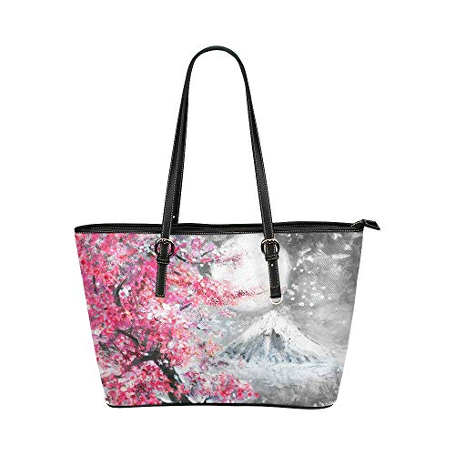 InterestPrint Modern Cherry Blossom and Mountain Leather Tote Bags Handbags with Zipper for Women