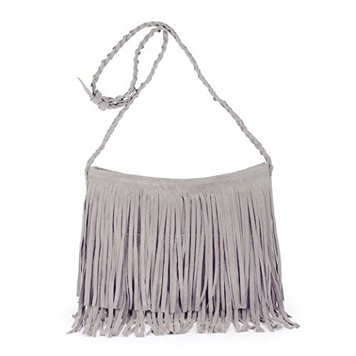 84e88453b8cb Amazon.com  Women Street Jeans Faux Suede Fringe Hobo Bag Crossbody Purse  Bag with Wrist Strap  Shoes