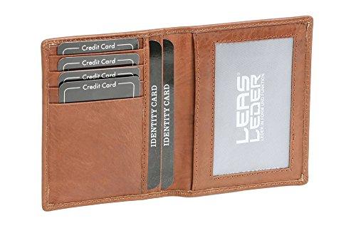 Caja de Piel para DNI Tarjetero para DNI Tarjetero para Tarjetas de crédito LEAS, Piel auténtica, coñac - ''LEAS Card-Collection''