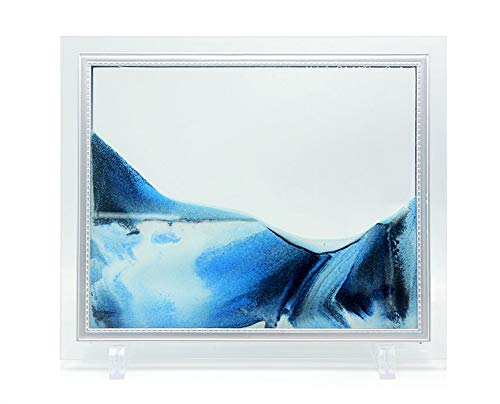 Queenie Flowing Sand Picture, Sand in Motion Abstract Scenery with ABS Stent and Glass Frame Desktop Art Moving Blue Sand Painting, 10 inch