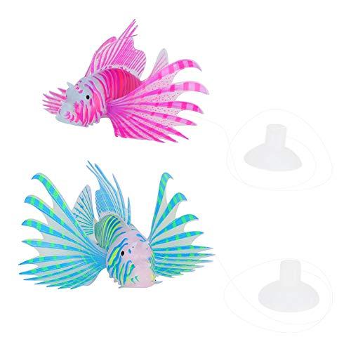 2-teilige Aquarium-Feuerfisch-Dekoration, spezielle Umweltschutzmaterialien, lila und blauer Feuerfisch, sicher, ungiftig, langlebig, Plasthetik von New