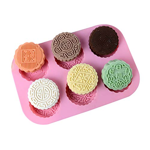 Circle Soap Mold - 6 Cavity Moon Cake Silicone Soap Making Tool