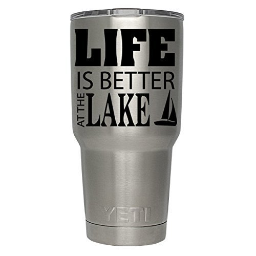Life is Better at the Lake Boat decal for yeti,rtic, ozark tumblers, laptops, car decals