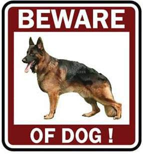 OTA STICKER Beware of Dog German Shepherd Sign Symbol Logo Picture Warning Alert Security Safety for CAR Fence Wall Window Bumper Laptop Home House Garden Gift