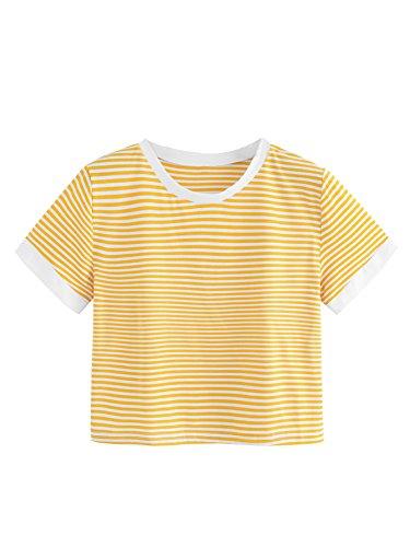 SweatyRocks Women's Striped Ringer Crop Top Summer Short Sleeve T-Shirts Yellow White Large