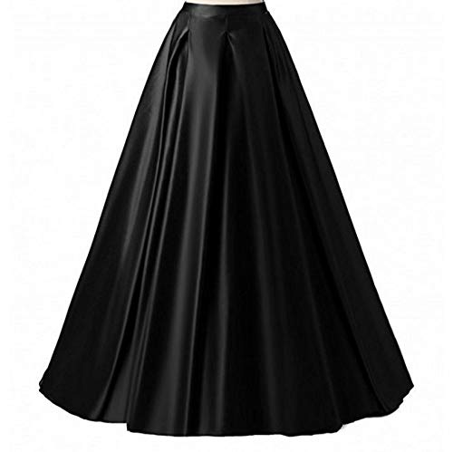 Diydress Women's Long Fashion High Waist A-Line Satin Skirts with Pockets, Black, 6XL