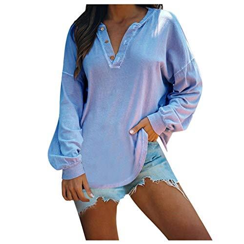 EUCoo Camisetas de manga larga para mujer, estilo casual, cuello en V, color puro, blusas tipo túnica (F)