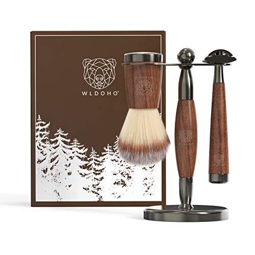 WLDOHO® Rasierset aus Holz mit Rasierhobel, Rasierpinsel, Rasierständer und 5 Rasierklingen | Rasierhobel Set aus edlem Walnussholz, ideal als Geschenkset