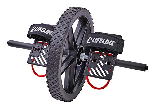 Lifeline Power Wheel for At Home Full Body Functional Fitness Strength including Abs & Core, Lower Body and Upper Body with Foot Straps for More Workout Options , Black