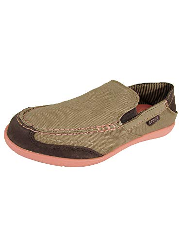 Crocs Womens Walu Express Loafer Shoes, Khaki/Melon, US 6