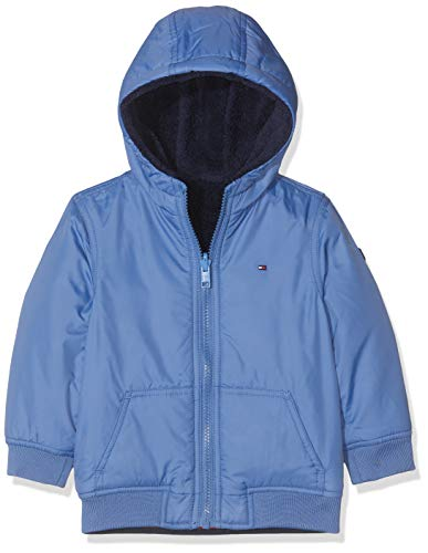 Tommy Hilfiger Reversible Teddy Jacket Chaqueta, (Blue Ce4), 86 para Bebés