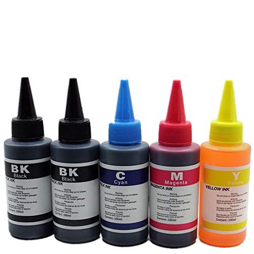 Kit de Recambio de Tinta de Tinta para HP Inkjet 21XL 22XL 27XL 28XL 56XL 57XL 58XL 21 XL 22 27 28 56 57 58 662XL 664XL 60XL 61XL 62XL 63XL 64XL 65XL 650XL 652XL (100ML Juego de 4 Piezas + 1 Negro