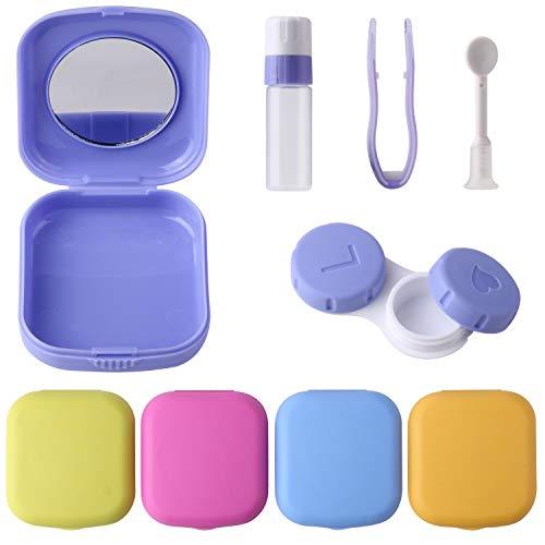 sansheng 5 Packs Mini Travel Contact Lens Box Sets, Support Lens Box, Contact Lens Fixed Lens Box, Blue, Purple, Green, Rose red, Yellow