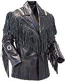 COCOBEE Men's Slim Fit Leather Jacket Cowboy Western Suede Leather Jacket with Fringe and Tassels Black
