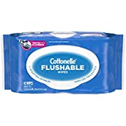 Cottonelle Flushable Wet Wipes for Adults, 1 Flip-Top Pack, 42 Wipes, Alcohol-Free, Plastic Free