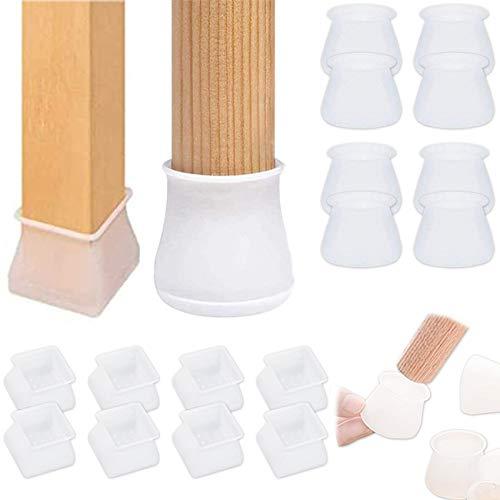 Elehui 16 Stück Silikon-Stuhlbeinschoner für runde und quadratische Stuhlbeinkappen, Möbel-Tischfüße, Holzbodenschoner, rutschfest, verhindert Kratzer und Lärm für Stuhl, Schreibtisch, Füße