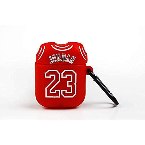 Funny Airpods Cases | Funda Protectora para Airpods Apple - Diseño Camiseta 23 Michael Jordan, con mosquetón Anti pérdida. Compatible con Airpods 1 & 2, Rojo, estandar