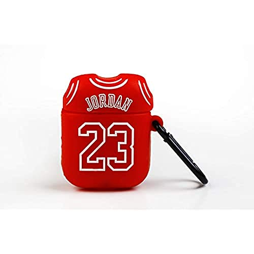 FUNNY AIRPODS Custodia protettiva Wondee Global Services per Apple Airpods - T-shirt design 23 Michael Jordan, con moschettone anti-smarrimento. Compatibile con Airpods 1 e 2, rosso, standard