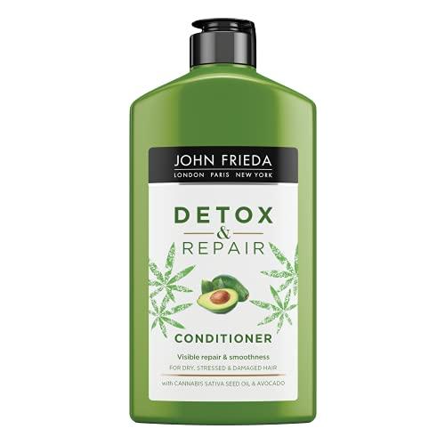 John Frieda Acondicionador Reparador Detox, Pelo Seco y Dañado, Hidratante, Solido, Nutritivo, Verde, 250 Mililitros