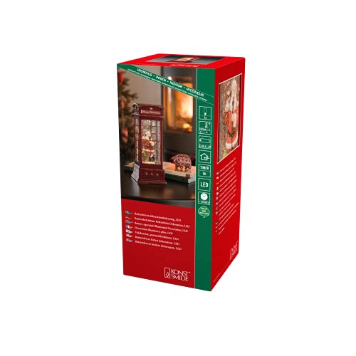 'Konstsmide LED Snow Globe Lantern'Santa Telefono Box', Lanterna riempita di acqua/Acqua Spinner/Indoor (IP20) 5 ore Timer/Batteria: 3xC 1.5V (escl.)/Lanterna di Natale 1 diodo bianco caldo', 4363-550