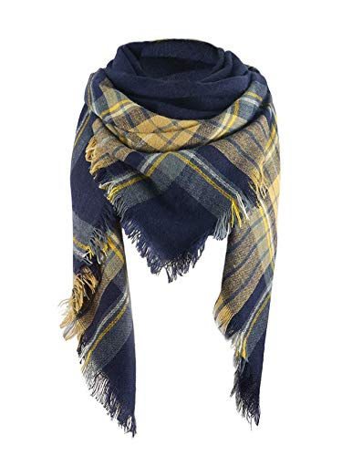 Women's Soft Warm Plaid Chunky Scarf Fall Winter Large Checked Blanket Scarves Wrap Shawl Yellow Navy