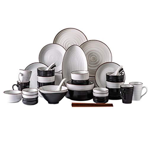 NXYJD Conjunto de vajillas de Porcelana con diseño de Conjunto de 56 Piezas, vajilla doméstica, Cuenco, Placa y Juego de Palillos