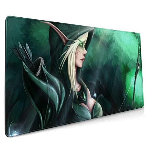 World Warcraft Elf Large Gaming Mouse Pad,Non-Slip Rubber Base, Waterproof & Foldable Mat Keyboard Mousepad,Desk Mat,for Desktop,Laptop,Keyboard More (15.8x35.5x0.12inch)