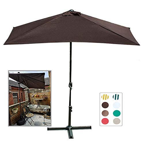 Aly Sombrilla De Patio Semicircular Parasol De Mercado Exterior con 5 Costillas & Manivela Fácil para Balcón Terraza Jardín O Terraza Sombra (230x120cm)