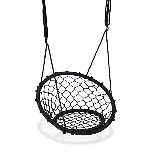Relaxdays Basket Swing, Children and Adults, Hanging Nest Swing with Backrest, 150 kg, Outdoor, 75Cm, Adjustable, Black