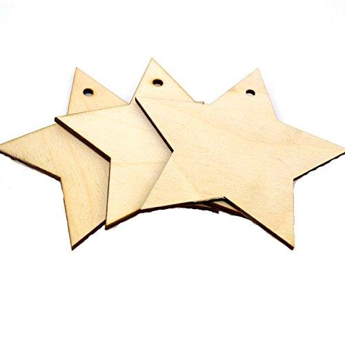 10 Etiquetas de Madera con Forma de Estrella