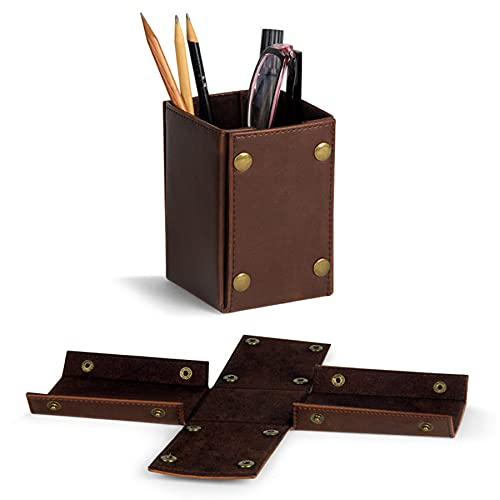 WQMA Portalápices Plegable De Cuero Bolsa De Almacenamiento Plegable Retro Productos De Oficina Portátiles para El Hogar