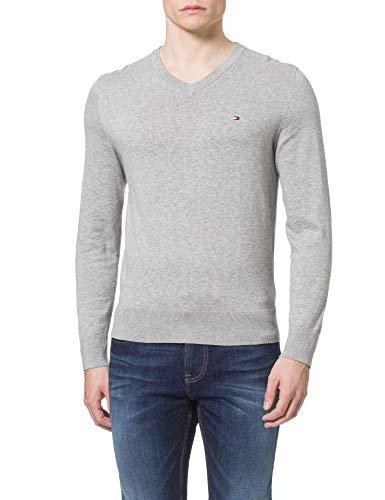 Tommy Hilfiger Herren Organic Cotton Blend V Neck Pullover, Medium Grey Heather, Large