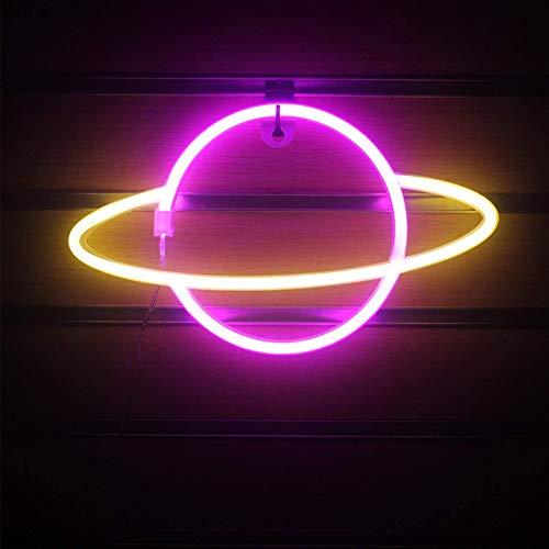 Adoture Planet Neon Light LED Neon Wandleuchte Batterie- oder USB-betriebenes Neon-Lichtschild LED Neon-Lichter Wolkenlampe Licht für Zuhause, Kinderzimmer, Bar