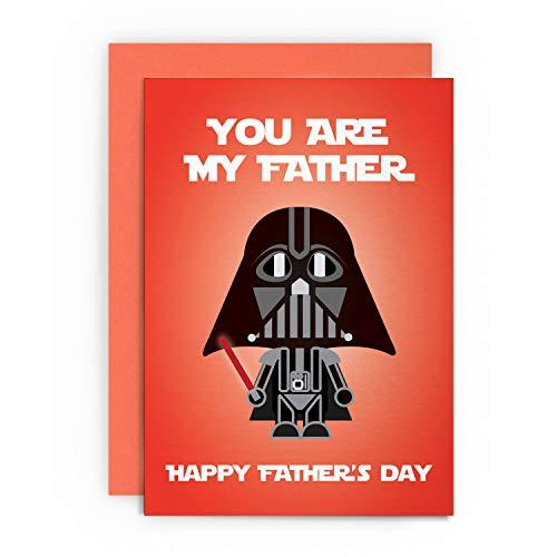 Carte humoristique pour la fête des pères Star Wars Dark Vador avec inscription « You are my father #happyfathersday » Carte de vœux pour lui