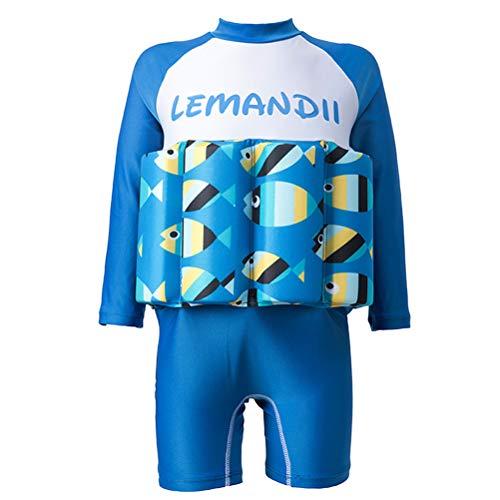 Abaodam Schwimmender einteiliger Badeanzug für Babys, Jungen, Badeanzüge mit Sonnenschutz, Badebekleidung (geeignete Höhe 80–90 cm, blau)