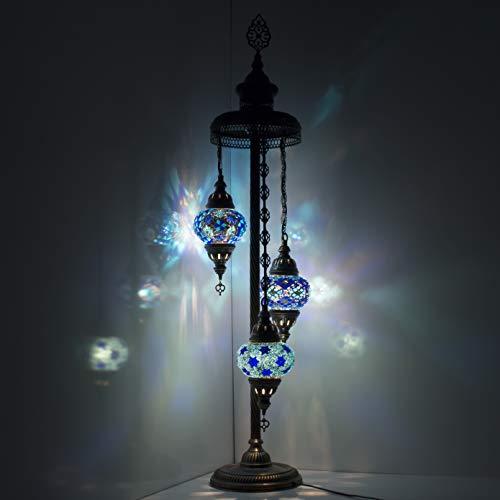Hecho a mano turco árabe marroquí oriental bohemio Tiffany estilo mosaico de cristal colorido lámpara de pie lámparas decoración del hogar