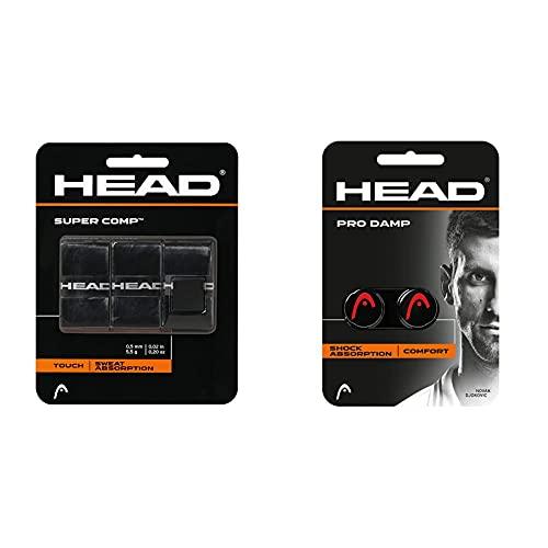 Head Supercomp, Tennis Accessori Unisex Adulto, Black, One Size & PRO Damp, Ammortizzatore di Vibrazioni Unisex-Adult, Black, One Size