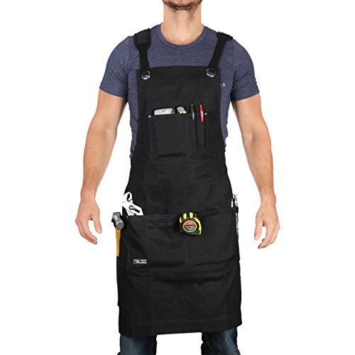 Premium Workshop Apron for Men and Women with Tool Pockets, Shoulder Pads and Cross-Back Straps to Prevent Neck and Shoulders Discomfort | Heavy Duty Waxed Canvas