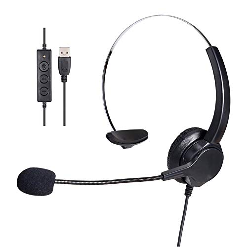 Great Features Of MIUONO USB Headset with Microphone, Over-The-Head Computer Headphone for PC, Surro...