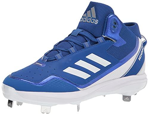 adidas Men's Icon 7 Mid Baseball Shoe, Team Royal Blue/White/Silver Metallic, 10